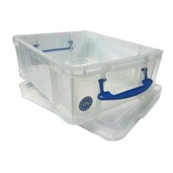 "Really Useful Box® Plastic Storage Box, 17 Liters, 18 7/8"" x 15 3/8"" x 8"", Clear"