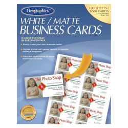 """Geographics Inkjet, Laser Print Business Card - 3 1/2"""" x 2"""" - 65 lb Basis Weight - Matte - 100 / Pack - White"""