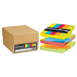"""Neenah Astrobrights® Bright Color Paper, Letter Size (8 1/2"""" x 11""""), 24 Lb, Assorted Colors, Ream Of 250 Sheets, Case Of 5 Reams"""