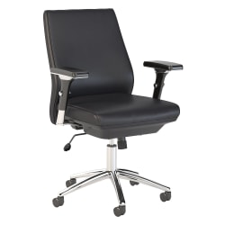 Bush Business Furniture Metropolis Bonded Leather Mid-Back Office Chair, Black, Standard Delivery