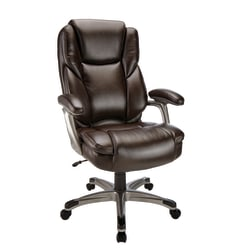 Realspace® Cressfield Bonded Leather High-Back Executive Chair, Brown/Silver