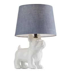 """Adesso® Simplee Dog Table Lamp, 15""""H, Light Blue Shade/White Base"""
