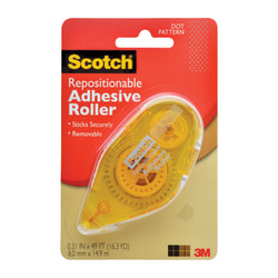 Scotch® Adhesive Dot Roller, Repositionable, 0.31 in x 49', Clear