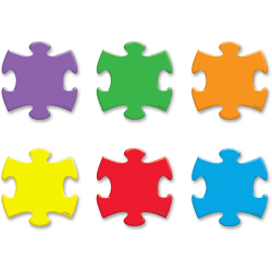 """Trend Mini Accents Puzzle Pieces Variety Pack - Fun Theme/Subject - Durable, Precut, Reusable - 3"""" Height x 5"""" Length - Multicolor - 36 / Pack"""