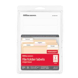 "Office Depot® Brand Print-Or-Write Color Permanent Inkjet/Laser File Folder Labels, OD98816, 5/8"" x 3 1/2"", White, Pack Of 252"