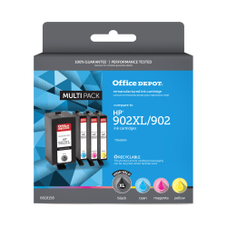 Office Depot® Brand OD902XLK902CMYV3 Remanufactured Black / Tri-Color Ink Cartridge Replacement For HP 902XL / 902 / TOA39AN, Pack Of 4