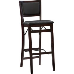 Linon Home D Cor Products Keira Padded Back Folding Barstool Espresso Office Depot