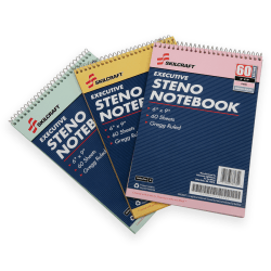 "50% Recycled Steno Notebooks, 6"" x 9"", Gregg Ruled, 60 Pages (30 Sheets), White/Blue, Pack Of 3 (AbilityOne 7530-01-454-5702)"