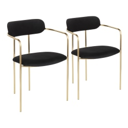 LumiSource Demi Chairs, Black/Gold, Set Of 2 Chairs