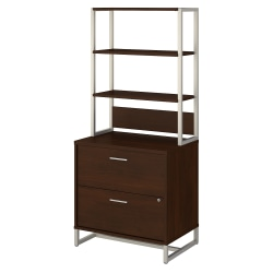 "kathy ireland® Office by Bush Business Furniture Method 30""W Lateral 2-Drawer File Cabinet With Hutch, Century Walnut, Standard Delivery"