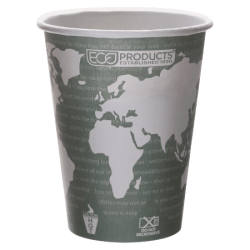 Eco-Products World Art Hot Beverage Cups, 12 Oz, Green, Pack Of 600