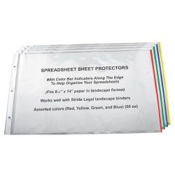 """Stride Easy-Fit Color Bar Sheet Protectors, 8 1/2"""" x 14"""", Assorted Colors, Pack Of 60"""