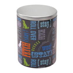 Advantus PawPrints Treat Tin, Large, Gray