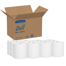 """Scott® Hard Roll 1-Ply Paper Towels, 8"""" x 11"""", 60% Recycled, White, 400 Sheets Per Roll, Case Of 12 Rolls"""