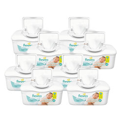 Pampers® Sensitive Baby Wipes, Unscented, 64 Wipes Per Tub, Case Of 8 Tubs
