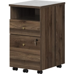 "South Shore Talie 16""W Lateral 2-Drawer Mobile File Cabinet, Natural Walnut"