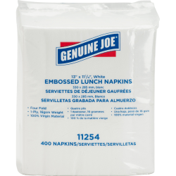 "Genuine Joe White Lunch Napkins - 1 Ply - 13"" x 11.25"" - White - Soft, Quad-fold, Versatile - For Lunch - 400 Per Pack - 2400 / Carton"