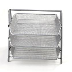 Mind Reader 3-Tier Steel Mesh Paper Tray Desk Organizer, Silver