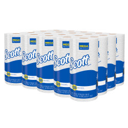 """Scott® 80% Recycled 1-Ply Paper Towels With ABSORBENCY POCKETS®, 8 7/8"""" x 11"""", 128 Sheets Per Roll, Case Of 20 Rolls"""