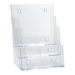 "Azar Displays 3-Tier 3-Pocket Plastic Brochure Holder, Letter Size, 13-1/4""H x 9""W x 6""D, Clear"