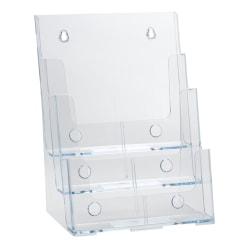 "Azar Displays 3-Tier 3-Pocket Plastic Brochure Holder, Letter Size, 13-1/4""H x 9""W x 6""D, Clear"