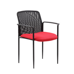 Boss Stackable Mesh-Back Guest Chair, Red/Black