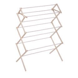 """Honey-Can-Do Large Wood Clothes Drying Rack, 41 1/2""""H x 15""""W x 22 1/2""""D, Natural/White"""