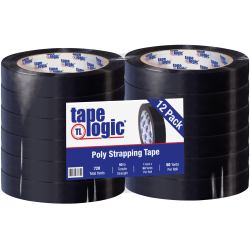 """Tape Logic® Tensilized Poly Strapping Tape, 3"""" Core, 1"""" x 60 Yd., Black, Case Of 12"""
