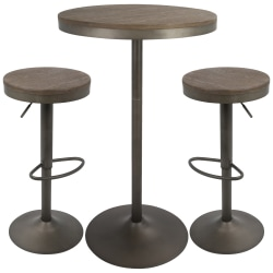 Lumisource Dakota Industrial Farmhouse Table With 2 Bar Stools, Antique/Brown