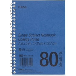 """Mead Heavyweight Single Subject Notebook - 80 Sheets - Coilock - 5"""" x 7"""" - White Paper - Assorted Cover - Durapress Cover - 1Each"""