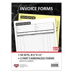"COSCO Invoice Form Book With Slip, 2-Part Carbonless, 8-1/2"" x 11"", Business, Book Of 50 Sets"