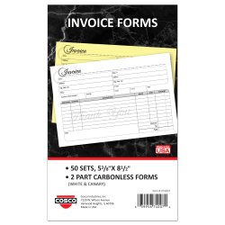 """COSCO Service Invoice Form Book With Slip, 2-Part Carbonless, 5-3/8"""" x 8-1/2"""", Artistic, Book Of 50 Sets"""