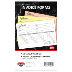 """COSCO Service Invoice Form Book With Slip, 3-Part Carbonless, 5-3/8"""" x 8-1/2"""", Artistic, Book Of 50 Sets"""