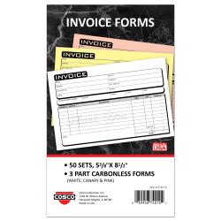 """COSCO Service Invoice Form Book With Slip, 3-Part Carbonless, 5-3/8"""" x 8-1/2"""", Business, Book Of 50 Sets"""