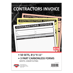 "COSCO Contractor Invoice Business Form Book With Slip, 3-Part Carbonless, 8-1/2"" x 11"", Book Of 50 Sets"