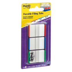 "Post-it® Durable Tabs, 1"" x 1 1/2"", Blue/Green/Red Color Bars, 22 Flags Per Pad, Pack Of 3 Pads"