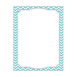 """Barker Creek Computer Paper, 8 1/2"""" x 11"""", Turquoise Chevron, Pack Of 50 Sheets"""