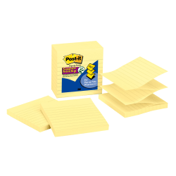"""Post-it® Super Sticky Pop-up Notes, 4"""" x 4"""", Canary Yellow, Lined, Pack Of 5 Pads"""
