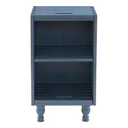 """Powell Hudon Side Table With Shelf, 24""""H x 14""""W x 14""""D, Blue"""