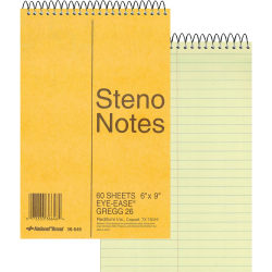 """Rediform Wirebound Steno Notebook - 60 Sheets - Wire Bound Light Blue Margin - 16 lb Basis Weight - 6"""" x 9"""" - Green Paper - Brown Cover - Unpunched, Subject - 1Each"""