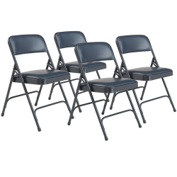 National Public Seating Series 1200 Folding Chairs, Blue/Char-Blue, Set Of 4 Chairs