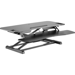 """Amer Mounts Sit/Stand 37.4"""" Height Adjust Desk - EZRiser36 Height Adjustable Sit/Stand Desk Computer Riser, Dual Monitor Capable, 37.4"""" wide with Keyboard Tray - Black Finish"""