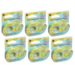 """Lee Removable Highlighter Tape, 0.5"""" x 20', Yellow, Pack Of 6"""
