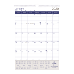 """Blueline® DuraGlobe Monthly Wall Calendar, 17"""" x 12"""", 50% Recycled, January to December 2020"""