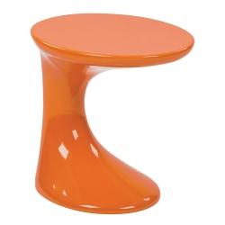 Ave Six Slick End Table, Round, High-Gloss Orange/Orange