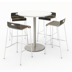 KFI Studios Round Bistro Pedestal Table With 4 Stacking Bar Stools, Designer White/Espresso