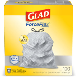 Glad® ForceFlex® Drawstring Trash Bags, 13 Gallons, White, Box Of 100 Bags