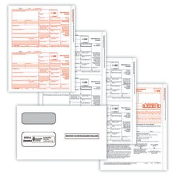 "ComplyRight 1099-MISC Tax Forms Set, 4-Part, 2-Up, Copies A/B/C, Laser, 8-1/2"" x 11"", Pack Of 100 Forms And Envelopes"