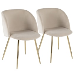 LumiSource Fran Dining Chairs, Gold/Cream, Set Of 2 Chairs
