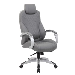 Boss Office Products Hinged Arm High-Back Chair, Gray